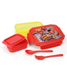 Motu Patlu Lunch Box With Container & Spoon - Red & Yellow