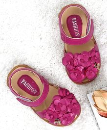 KIDLINGSS Flower Applique Velcro Straps Sandals  - Dark Pink