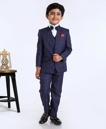 Babyhug 4 Piece Full Sleeves Party Suit - Navy Blue