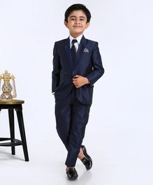 Babyhug 3 Piece Full Sleeves Party Suit - Navy Blue