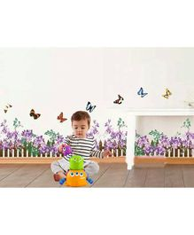 Syga Purple Flowers and Butterfly Wall Sticker - Multicolor