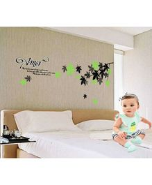 Syga Beautiful Flowers PVC Vinyl Wall Sticker - Green and Grey