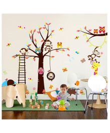 Syga Cartoon Monkey Owl Tree PVC Vinyl Wall Sticker - Multicolor