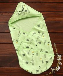Doreme Hooded Wrapper Giraffe Print - Light Green