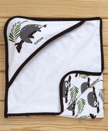 Doreme Hooded Wrapper Koala Print - White Dark Brown