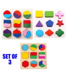 Party Propz Wooden Geometric Toys Multicolor Set of 3 - 27 Pieces