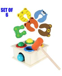 Party Propz Wooden Hammer Case Toy & 5 Door Stopper for Kids - Multicolor