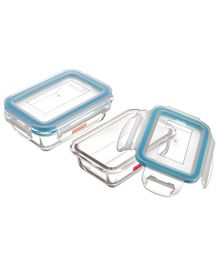 Hazel Borosilicate Airtight & Leak Proof Glass Container Set of 2 - Transparent