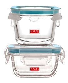 Hazel Borosilicate Glass Airtight & Leak Proof Containers Set of 2 Blue - 150 ml each