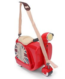 Scooter Shaped Trolley Bag Cum Ride On With Strap - Red