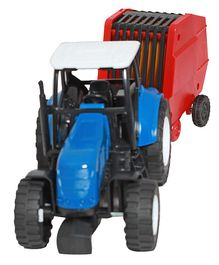 New Ray Die Cast Free Wheel Tractor Toy With Trailer - Blue Red