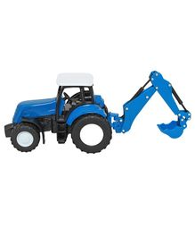 New Ray Farm Die Cast Tractor With Trailer - Blue