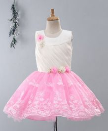 Babyhug Sleeveless Party Wear Frock Floral Appliques - White Pink