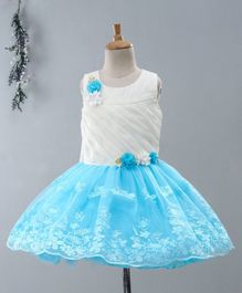 Babyhug Sleeveless Party Wear Frock Floral Appliques - White Blue