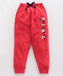 Doreme Full Length Lounge Pants Text Print - Red