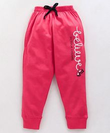 Doreme Full Length Lounge Pants Text Print - Pink