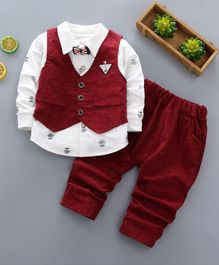 Pre Order - Awabox Moustache Printed Full Sleeves Shirt With Vest & Pants With Attached Bow Tie - Red