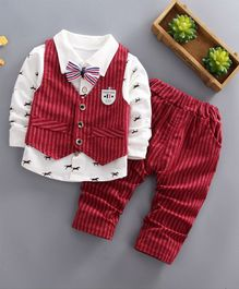 Pre Order - Awabox Animal Print Full Sleeves Shirt With Striped Vest & Pants Set With Attached Bow Tie - Red