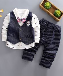 Pre Order - Awabox Animal Print Full Sleeves Shirt With Striped Vest & Pants Set With Attached Bow Tie - Navy Blue