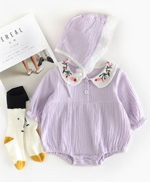 Pre Order - Awabox Full Sleeves Peter Pan Collar Onesie With Cap - Purple