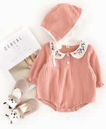 Pre Order - Awabox Full Sleeves Peter Pan Collar Onesie With Cap - Pink