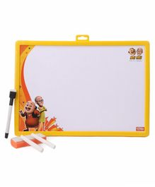 Motu Patlu 2 in 1 Writing Board Yellow - (Duster Color May Vary)