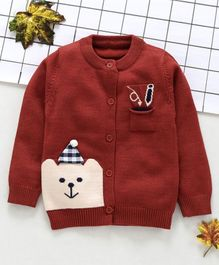 Kookie Kids Full Sleeves Sweater Bear Design - Maroon