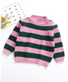 Pre Order - Awabox Full Sleeves Striped Sweater - Pink