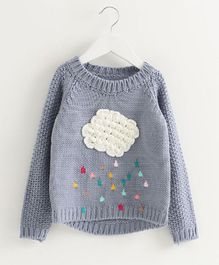 Pre Order - Awabox Full Sleeves Clouds Patch Sweater - Grey