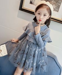 Pre Order - Awabox Creepers Embroidered Full Sleeves Tulle Flare Dress - Blue