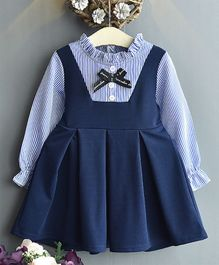 Awabox Puffed Full Sleeves Striped Box Pleated Dress - Navy Blue
