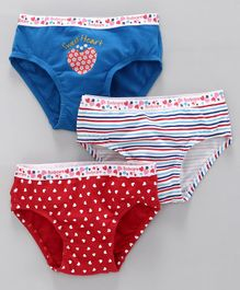 Bodycare Cotton Panties Heart Print Pack of 3 - Multicolor
