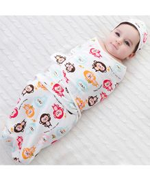 Babymoon Organic Cotton Baby Swaddle Wrap Muslin Cloth Sleeping Bag Monkey Print - Multicolour