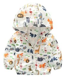 Pre Order - Awabox Full Sleeves Wild Animals Print Hooded Jacket - White