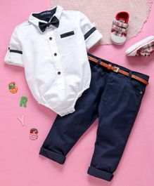 Happiness Full Sleeves Shirt Style Onesie With Trouser & Bow - White