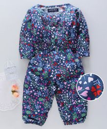 Happines Full Sleeves Romper Floral Print - Navy Blue