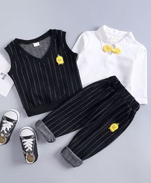 Pre Order - Awabox Full Sleeves T-Shirt With Striped Vest & Pants Set - Black