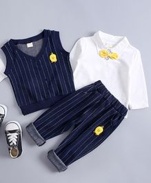 Pre Order - Awabox Full Sleeves T-Shirt With Striped Vest & Pants Set - Blue