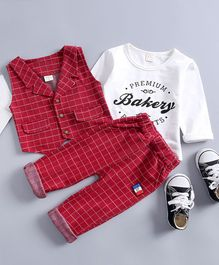 Pre Order - Awabox Premium Bakery Printed Full Sleeves T-Shirt With Waistcoat & Pants - Red