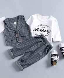 Pre Order - Awabox Premium Bakery Printed Full Sleeves T-Shirt With Waistcoat & Pants - Grey