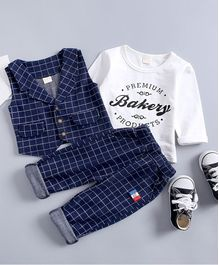 Pre Order - Awabox Premium Bakery Printed Full Sleeves T-Shirt With Waistcoat & Pants - Navy Blue