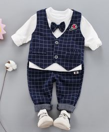 Pre Order - Awabox Full Sleeves T-Shirt With Checkered Waistcoat & Pants  - Navy Blue