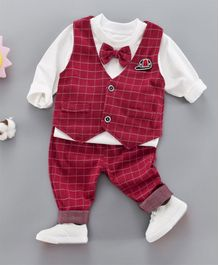 Pre Order - Awabox Full Sleeves T-Shirt With Checkered Waistcoat & Pants  - Red