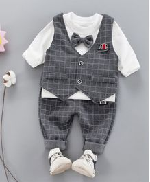 Pre Order - Awabox Full Sleeves T-Shirt With Checkered Waistcoat & Pants  - Grey