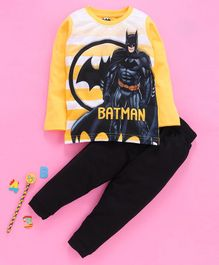 Eteenz Full Sleeves Tee And Lounge Pant Batman Print - Yellow Black
