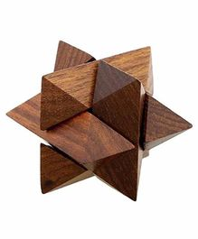 Desi Karigar Handmade 3D Star Jigsaw Wooden Brainteaser Puzzle Game Made In Pure Sheesham Wood - Brown