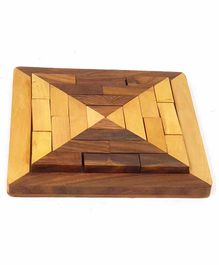 Desi Karigar Handmade Square Wood Tangram Puzzle Game Set - Brown Yellow