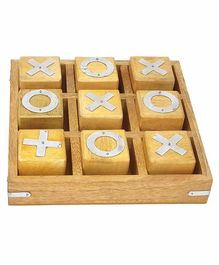 Desi Karigar Noughts and Crosses Game Brass Wooden Tic Tac Toe Game - Off White