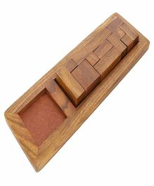 Desi Karigar Handmade Wooden Game Pentameno Tangram Jigsaw Puzzle Rectangle - Brown