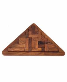 Desi Karigar Handmade Pentameno Tangram Triangle Jigsaw Puzzle Game - Brown
